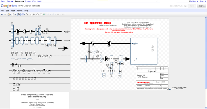 HVAC Diagram - Online Drawing Tool | Hvac Drawing Symbols Free |  | Engineering ToolBox