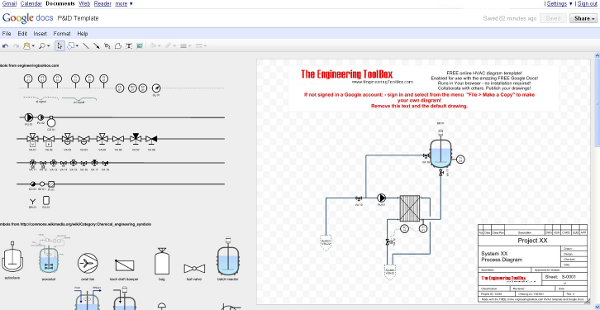 P&ID diagram drawing template