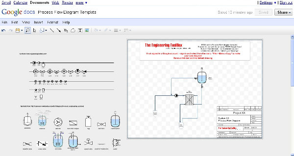 PFD - process flow diagram - online drawing template symbols