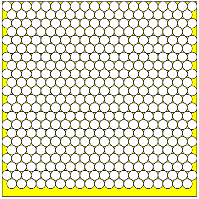 Number of circles within a rectangle - triangular pattern