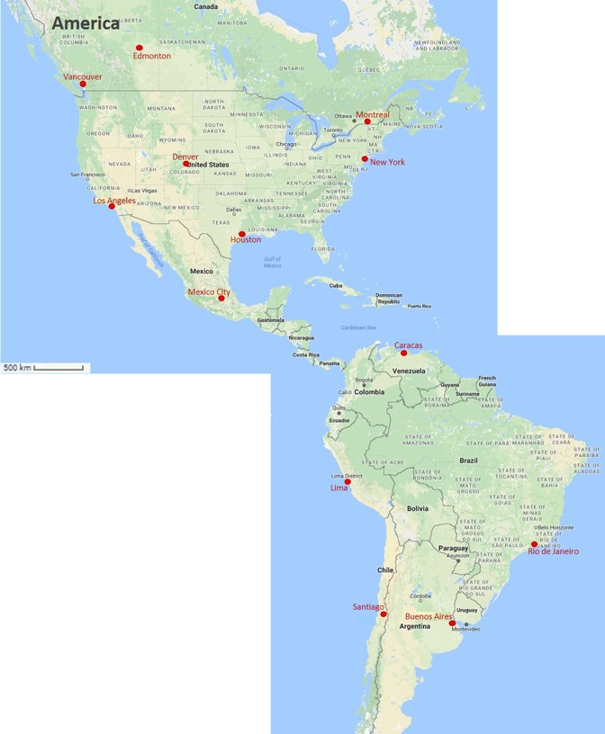 Map cities America
